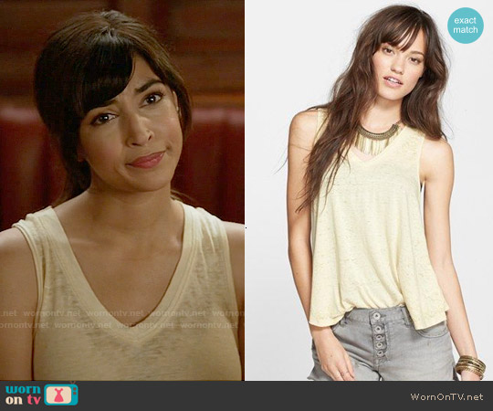 Free People Breezy Tank in Yellow worn by Hannah Simone on New Girl