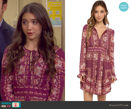 Free People 'Bridgette' Dress in Berry Combo worn by Rowan Blanchard on Girl Meets World