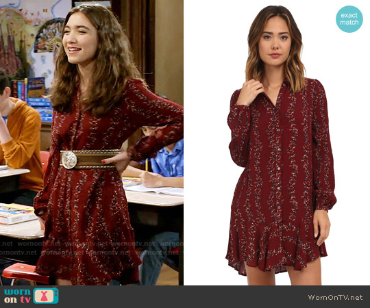 Free People Button Down Shirt Dress in Cranberry worn by Rowan Blanchard on Girl Meets World