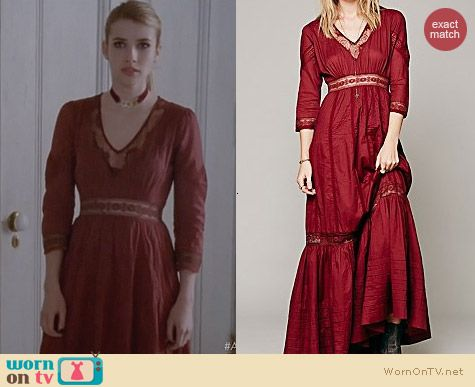 Free People Candela Heart Maxi Dress worn by Emma Roberts on AHS Coven
