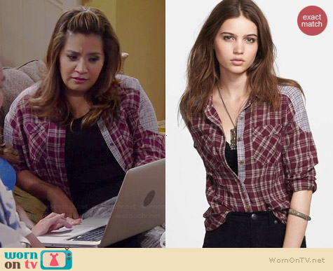 Free People Catch Up with Me Plaid Shirt worn by Cristela Alonzo on Cristela