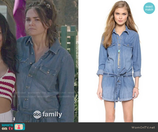 Free People Chambray Romper worn by Maia Mitchell on The Fosters
