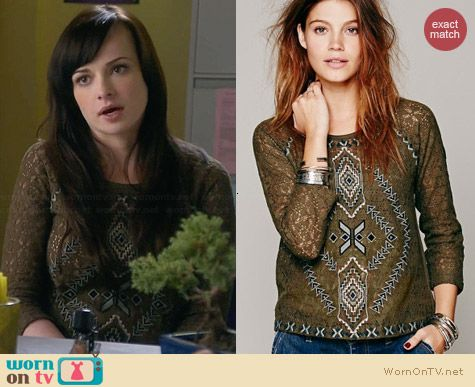 Free People Changing Directions Lace Top worn by Ashley Rickards on Awkward