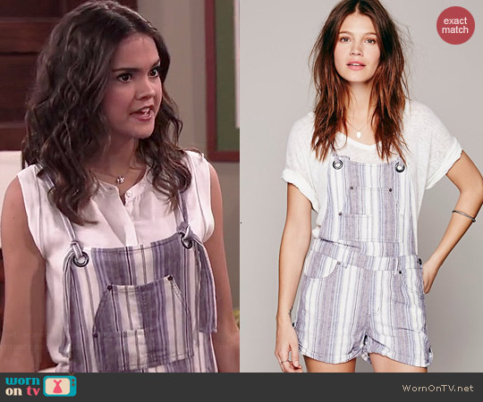 Free People Chrystie Slouch Shortalls worn by Maia Mitchell on Jessie
