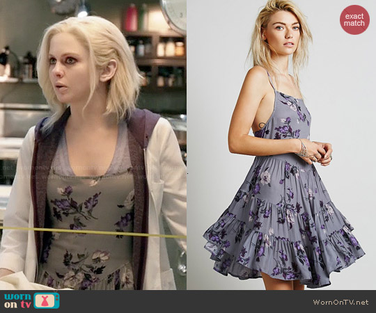 Free People Circle of Flowers Slip in Grey worn by Rose McIver on iZombie