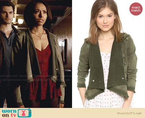 Free People Collapsing Twill Jacket worn by Kat Graham on The Vampire Diaries