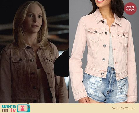 Free People Colored Denim Jacket in Pale Pink worn by Candice Accola on The Vampire Diaries