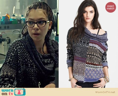 Free People Cowl Neck Patchwork Sweater worn by Tatiana Maslany on Orphan Black