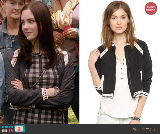 Free People Crochet Inset Baseball Jacket worn by Brenna Carver on Chasing Life