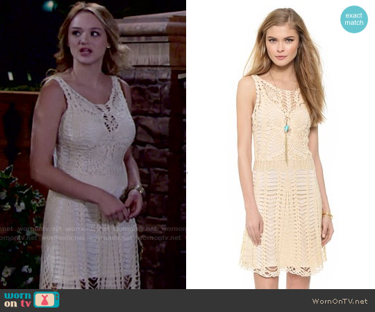 Free People Crochet Mini Dress worn by Hunter King on The Young & the Restless