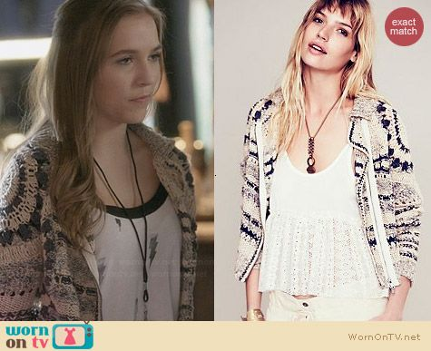 Free People Crochet Moto Jacket worn by Lennon Stella on Nashville