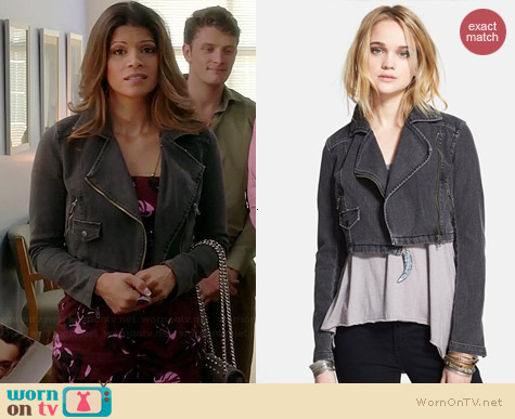 Free People Cropped Moto Jacket worn by Andrea Navedo on Jane the Virgin