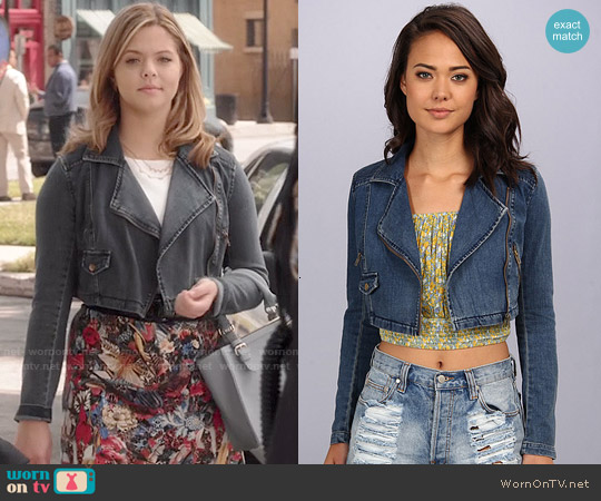 Free People Cropped Moto Jacket worn by Alison DiLaurentis on PLL