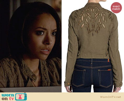 Free People Cutwork Linen Jacket worn by Kat Graham on The Vampire Diaries