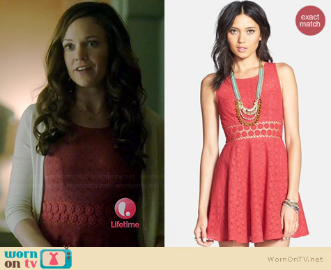 Free People Daisy Lace Fit & Flare Dress in Tibetan Red worn by Rachel Boston on Witches of East End