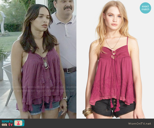 Free People Dandi Darling Gauze Top worn by Cleopatra Coleman on Last Man On Earth