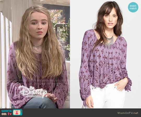 Free People 'Dazed' Print Jersey Top worn by Sabrina Carpenter on Girl Meets World