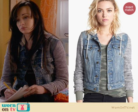 Free People Denim & Knit Jacket worn by Ashley Rickards on Awkward