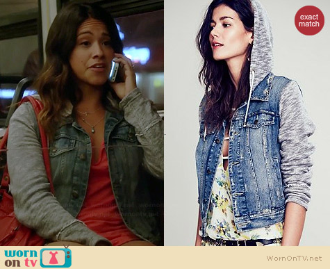 Free People Denim & Knit Jacket worn by Gina Rodriguez on Jane the Virgin