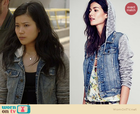 Free People Denim & Knit Jacket worn by Jadyn Wong on Scorpion