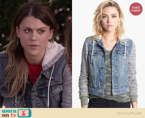 Free People Denim & Knit Jacket worn by Lindsey Shaw on PLL