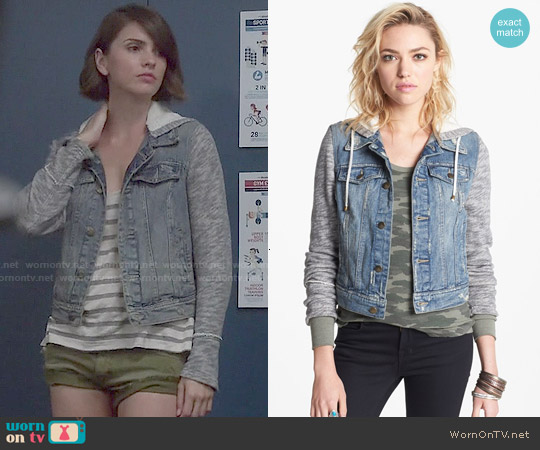 Free People Denim Knit Jacket worn by Shelley Hennig on Teen Wolf
