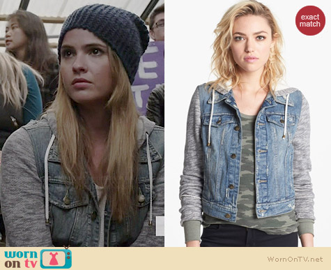 Free People Denim & Knit Jacket worn by Shelley Hennig on Teen Wolf