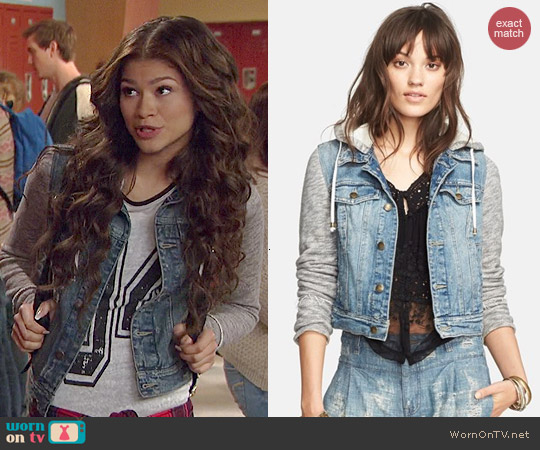Free People Denim & Knit Jacket worn by Zendaya on KC Undercover