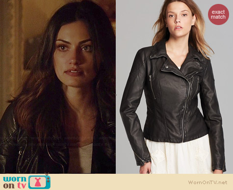Free People Distressed Faux Leather Moto Jacket worn by Phoebe Tonkin