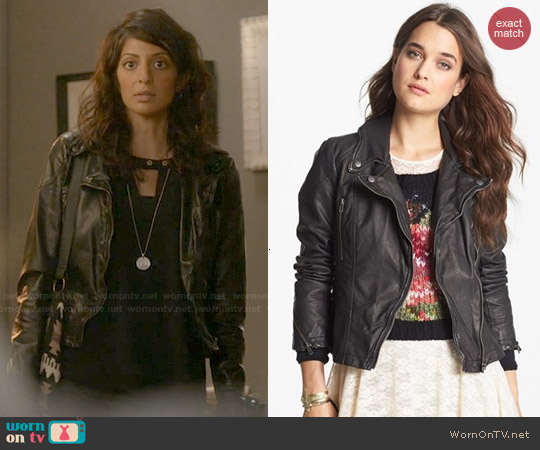 Free People Distressed Faux Leather Moto Jacket worn by Meera Rohit Kumbhani on Weird Loners