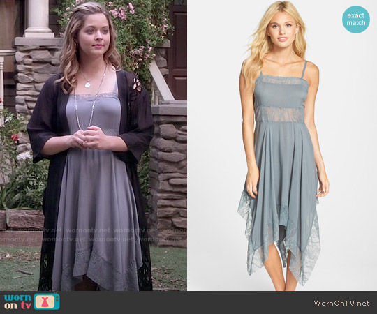 Free People Dobby Dot Lace Trim Trapeze Slip worn by Sasha Pieterse on PLL