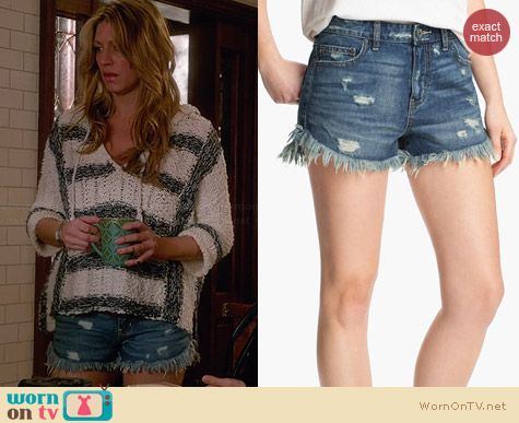 Free People Dolphin Hem Denim Shorts worn by Jess Macallan on Mistresses