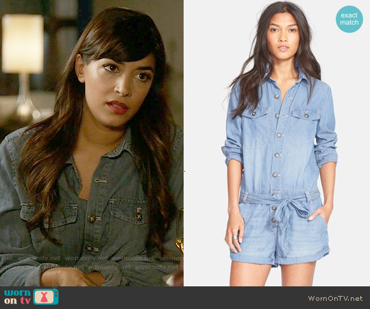 Free People Drapey Chambray Romper worn by Hannah Simone on New Girl