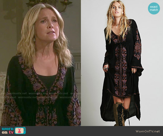 Free People Dreamweaver Dress in Black Combo worn by Melissa Reeves on Days of our Lives