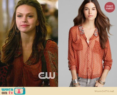 Free People Easy Rider Shirt in Rust worn by Aimee Teegarden on Star-Crossed