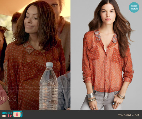 Free People Easy Rider Shirt in Rust worn by Kat Graham on The Vampire Diaries