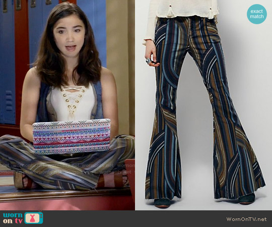 Free People Eve Printed Cord Flare worn by Rowan Blanchard on Girl Meets World