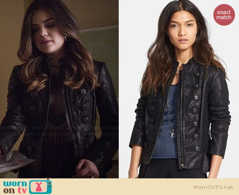 Free People Faux Leather Military Jacket worn by Lucy Hale on PLL