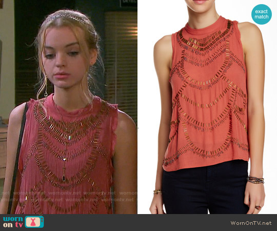 Free People 'Ferris Wheel' Top in Terracotta worn by Olivia Rose Keegan on Days of our Lives