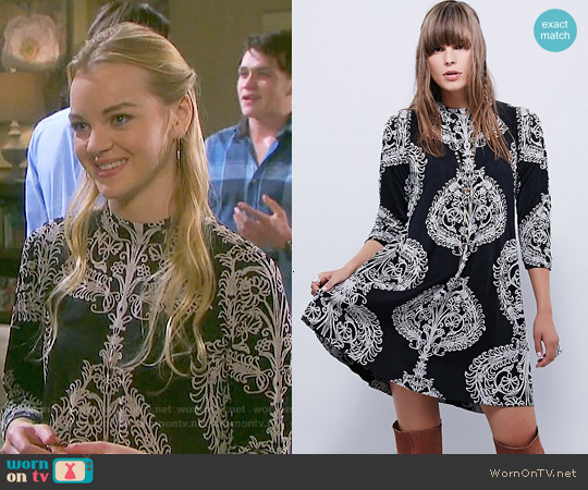 Free People Fiesta Floral Dress in Night Combo worn by Olivia Rose Keegan on Days of our Lives