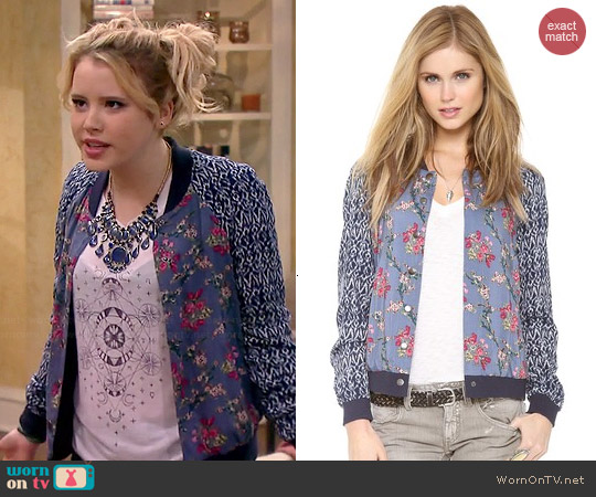 Free People Floral Print Baseball Jacket worn by Taylor Sprietler on Melisa & Joey