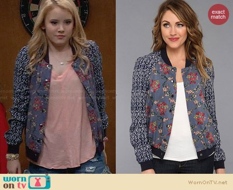 Free People Floral Print Baseball Jacket worn by Taylor Sprietler on Melissa & Joey