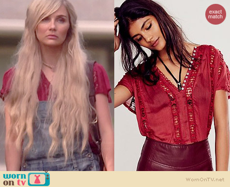 Free People Flower Chain Top in Maroon worn by Clare Bowen on Nashville