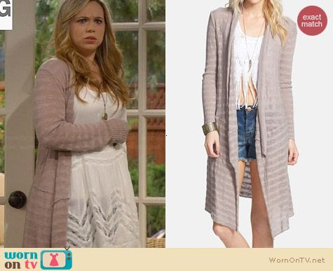 Free People Forget Me Not Drape Front Stripe Cardigan in Teak worn by Amanda Fuller on Last Man Standing