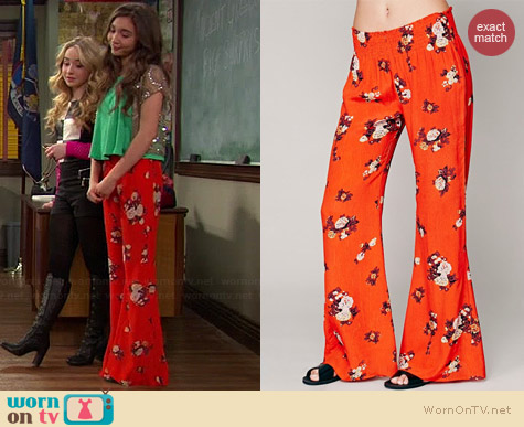 Free People Floral Hippie Pants worn by Rowan Blanchard on Girl Meets World