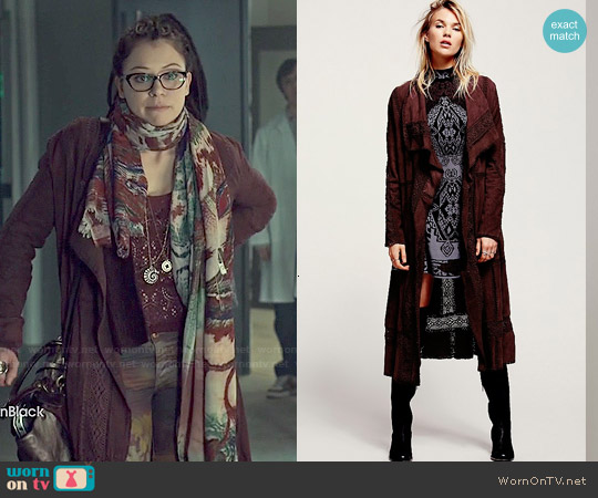 Free People Honey Moon Suede Duster worn by Cosima Niehaus on Orphan Black