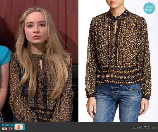 Free People If I Had You Printed Blouse worn by Sabrina Carpenter on Girl Meets World