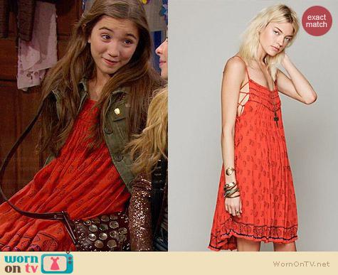 Free People Imperial Palm Pintuck Dress worn by Rowan Blanchard on Girl Meets World