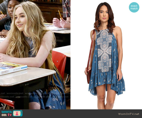 Free People Into You Sprinted Slip Dress in Teal Combo worn by Sabrina Carpenter on Girl Meets World