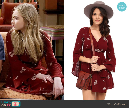 Free People Jasmine Embroidered Mini Dress in Marsala worn by Sabrina Carpenter on Girl Meets World